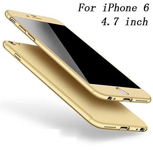 Coque iPhone 6S Coque iPhone 6 360 Protection PC 3 en 1 Full Cover Adamark Housse Integrale Bumper Etui Case Protège Écran en Verre Trempé Pour iPhone 6S/6 Or
