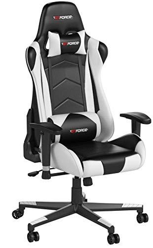 GTFORCE PRO FX - Gaming-Stuhl für E-Sport und Rennspiele - PC-Stuhl für das Büro - Liegepositionen - Kunstleder - Weiß