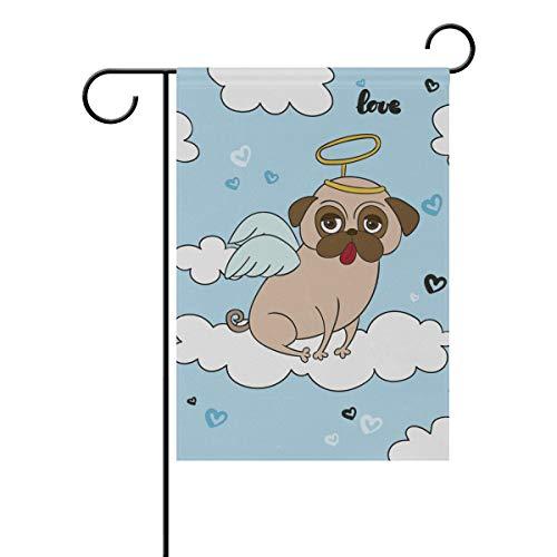 LINDATOP Lustige Mops mit Engel Kostüm Gartenflagge 30,5 x 45,7 cm, doppelseitig, Yard Dekoration, Polyester Outddor Flagge Home Party, Polyester, Multi, 12x18(in) (Lustig Kostüme Hund Uk)