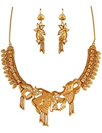 Variation South Indian Traditional Brass Necklace Set For Women-VD14207