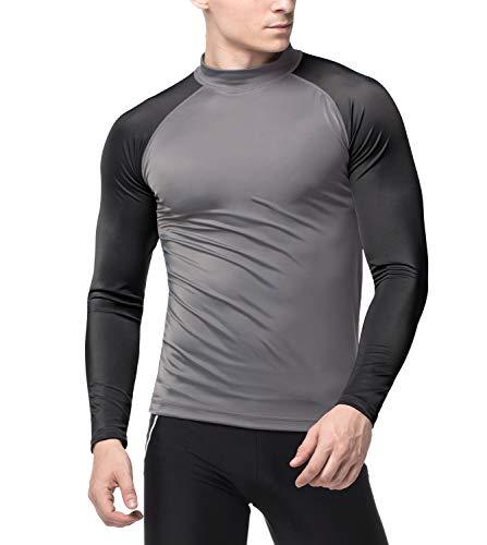 LAPASA Herren UV Sonnenschutz UPF 50+ Basic Skins Langarm Rash Guard Crew Shirt MEHRWEG M43 (Dunkelgrau+Schwarz(ohne Logo), L (letzter Abbildung zufolge))