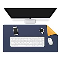 Dual-Side Computer Desk Mat, Non-Slip PU Leather Gaming Desk Mouse Pad Waterproof Large Desk Pad Protector, 80cm x 40cm (Dark Blue & Yellow)