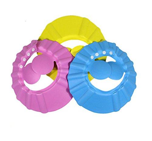 3 PZ Sicuro Morbido Regolabile Bagno Shampoo Cuffia per la doccia Cappello con copertura paraorecchie Capelli Lavaggio Shield Hat Capelli Protezione di taglio per bambini Bambini (Colore casuale)