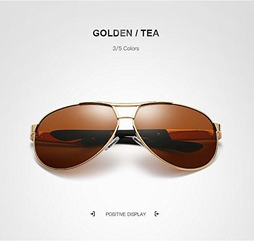 Y-WEIFENG Männer Polarisierte Spiegel/gespiegelte Retro-Sonnenbrille Sonnenbrillen Sonnenbrille Herren Sonnenbrillen Brille (Color : Golden/Tea)
