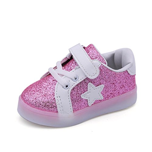 Envío Gratis Bebé niño niña LED zapatillas con luces ,Yannerr Chica Chico luminoso colorido ligeros deporte Running llevó antideslizante zapatos (rosa, 24)