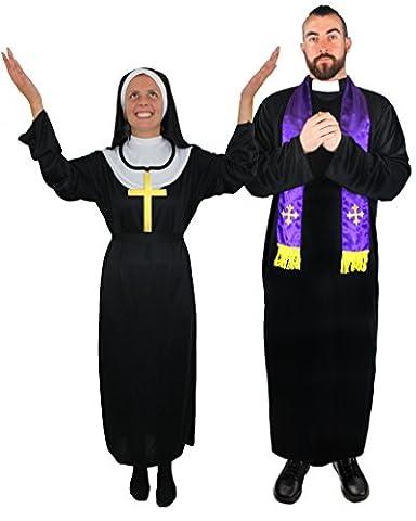 COUPLES COSTUMES PRIEST & NUN FANCY DRESS - MENS BLACK PRIEST ROBE & PURPLE SCARF (Priest Costume)