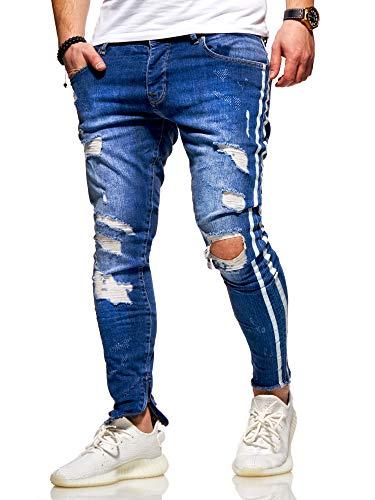 behype. Herren Destroyed Stretch Jeans-Hose im Used-Look mit Side-Stripe 80-4069 Blau W34/L32 -