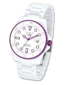 LTD Unisex Watch LTD-021801 Ceramic Diver White Ceramic With Purple Aluminium Anodized Plated Bezel
