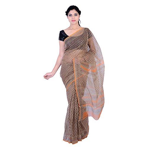 PK Impex Sarees Collection Multi Colour Saree Kota Doria Kota Cotton Silk Saree (P-22_Hand Block Printed Maroon & Orange_Free Size)