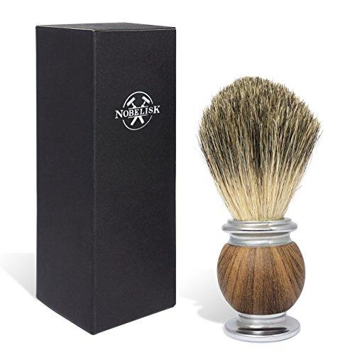 Blaireau de rasage premium Nobelisk avec manche de haute qualité, alliage zinc et fer | Blaireau en poils véritables (marron)