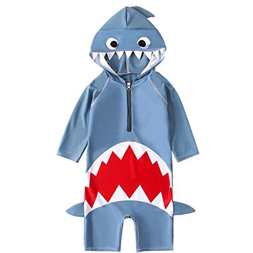 Hai Mädchen Kostüm - Zilee Kinder Badeanzug Bademode mit Badekappen