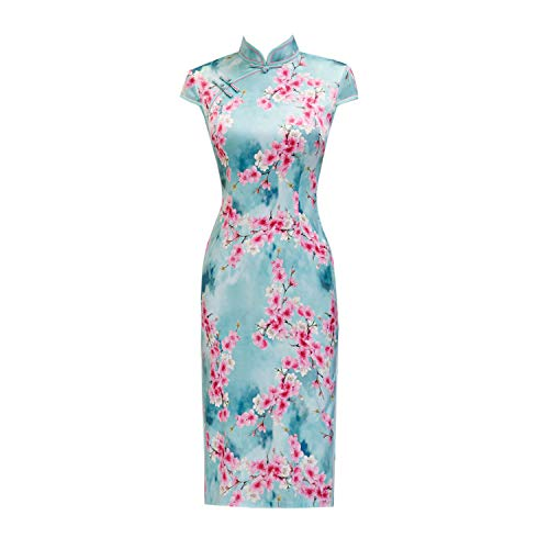 YAN Frauen Dress Chinesisch Cheongsam Qipao Self-Cultivation 3D Floral Robe Short Sleeve Stand Neck Cocktail Formal Wrap Kleider,Blue,XL (Mini-kleid Blossom)