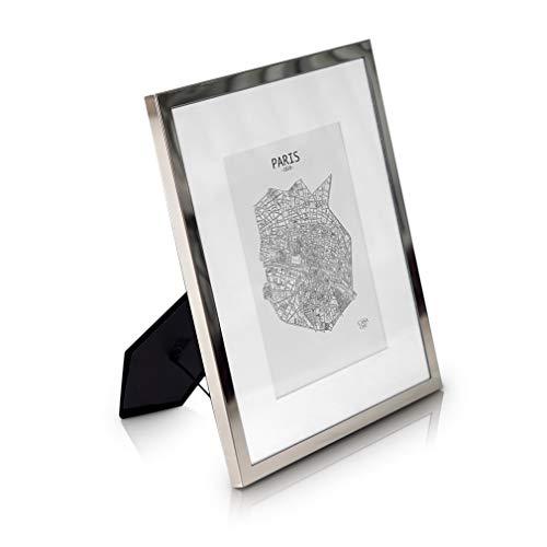 Elegance by Casa Chic Bilderrahmen 20x25 cm Silber - Mit Passepartout für 13x18 cm Foto - Front aus Glas - 1,5 cm Rahmenbreite - Versilbert Silber 13