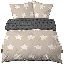 Castell Ropa de cama de franela (2piezas, funda nórdica de 135x 200cm almohada Reversible 80x 80cm Estrellas Beige
