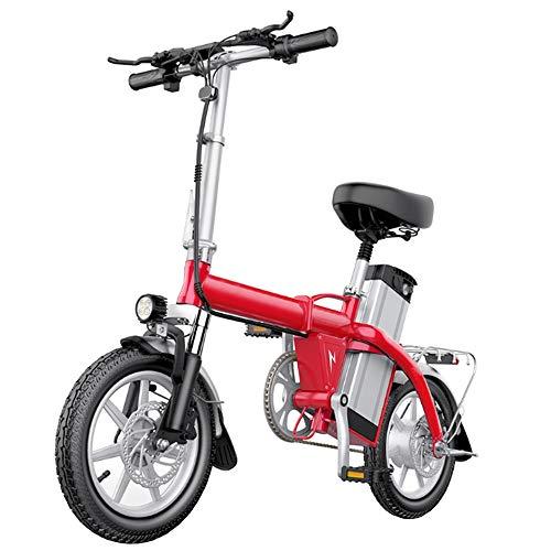 GEXING Zusammenklappbares Elektroauto 350-W-Nabenmotor, LED-Scheinwerfer, 14-Zoll-Räder, Pedale und Elektroräder for Erwachsene (Color : Red)
