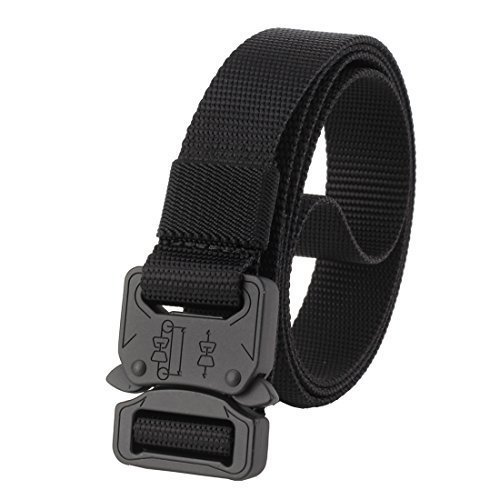 GRULLIN Taktische Pflicht Rigger Gürtel, MOLLE militärischen Schnellverschluss Schnalle Taillenband, Nylon Web EDC Waistbelt (Schwarz05) Handy Messing