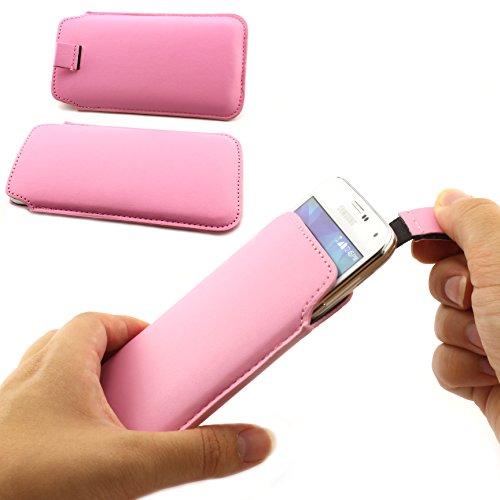 Universal Schutz Tasche Slim Cover Pull Tab Hülle passend für Apple iPhone 6 /6s, Samsung Galaxy S7, S6, S6 edge, S5 und viel mehr … ScorpioCover rosa