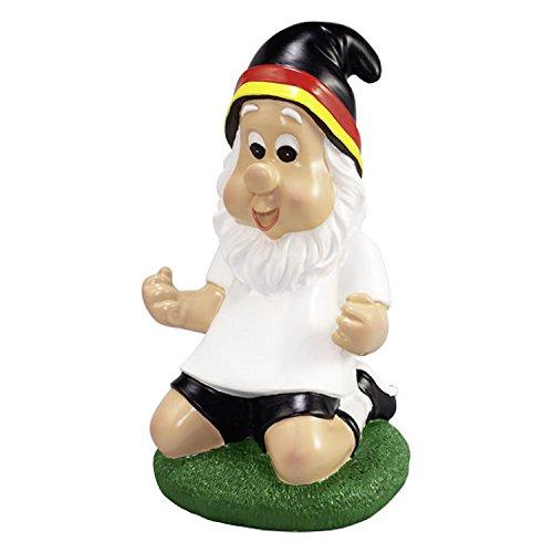 Gartenzwerg Deutschland Fan mit schwarz, rot, goldener Mütze in Jubelpose Fußball Fanartikel Ideal zur WM Weltmeisterschaft Russland 2018 Garten Dekoration
