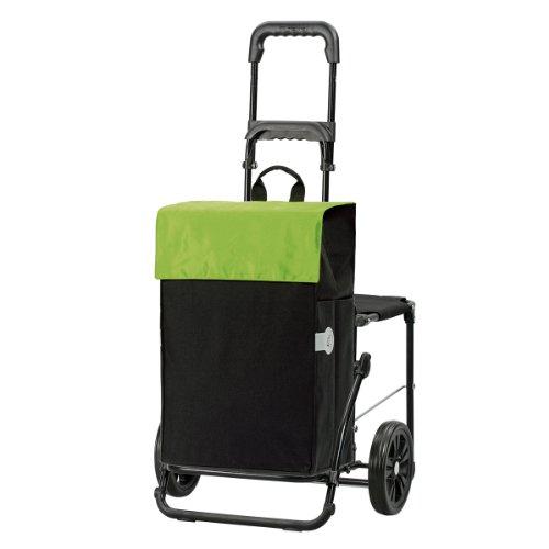 Original Andersen Einkaufstrolley Komfort | Einkaufstasche Hera schwarz/grün | Trolley Stahlgestell
