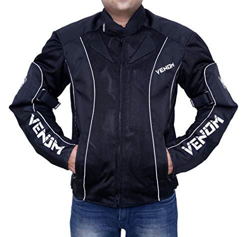 Venom Asphalt All Weather Motorcycle Riding Jacket (Black, XL)