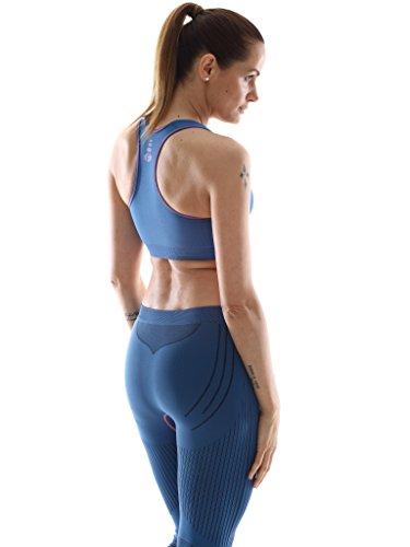 Reggiseno sportivo donna F-All mod. Mauritius, elasticizzato, senza cuciture. Top sportivo donna Navy
