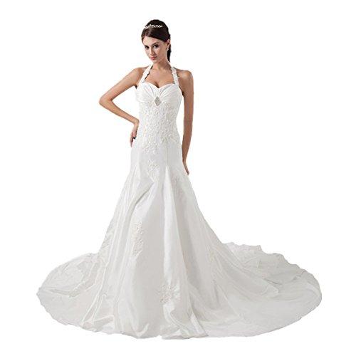 Jspoir Melodiz da donna cinghia di spaghetti Cattedrale di taffetà abito da sposa bianco Taglia 51