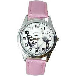 Reloj de pulsera con mecanismo de cuarzo, correa de cuero de color rosa y esfera decorada con una foto de Marilyn Monroe (incluye pila de repuesto y bolsa para regalo), de TAPORT