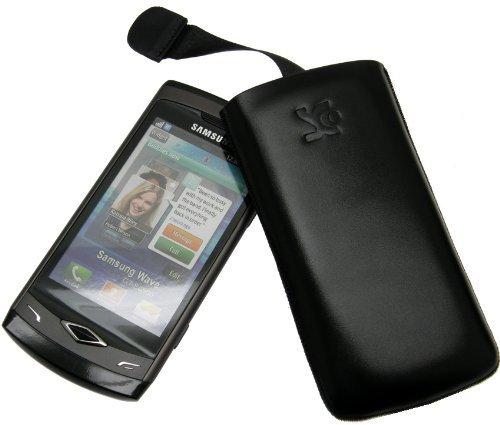 Original Suncase® Tasche für / Samsung Wave S8500 / Leder Etui Handytasche Ledertasche Schutzhülle Case Hülle (mit Zieh-Lasche) in schwarz