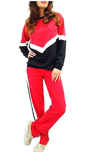 CuteRose Womens Baggy Contrast Casual Pullover 2 Piece Tracksuit Outfit Red S Red One-piece-outfit