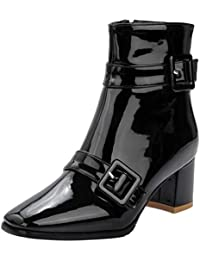 fae1a3d2fc09 YE Chaussure Bottes Bottines Talons Carrés Femme Haut Bloc Vernis à Boucles  Epais Fermeture Eclair Ankle
