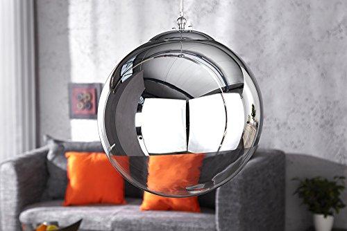 Große Design Hängelampe GLOBE 40cm Glas chrom Kugelleuchte - 3