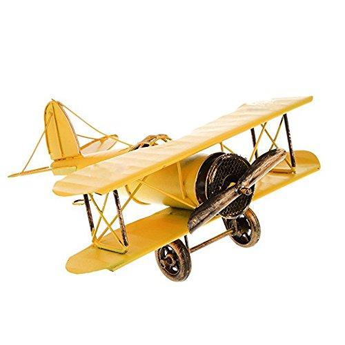 Oksea Bastel Metall Flugzeug Vintage Schmiedeeisen Luftfahrzeug Doppeldecker Luftfahrzeuge Modelle Der Beste Wahl für Foto Requisiten Home Decor Design Schreibtisch Dekoration Blau Gelb (Gelb) (Flugzeuge Spielzeug Vintage)