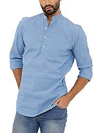 Nick & Jess Mens Blue Lycra Three Button Kurta Cotton Shirt