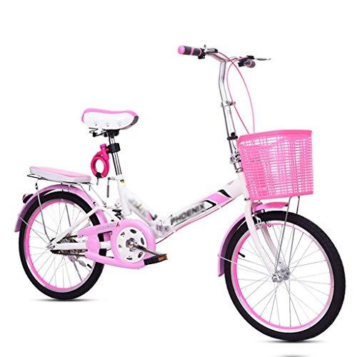 Fahrräder 20 Zoll Faltrad Rosa Fahrrad Erwachsene Pedal Fahrrad Studentin Übung Fahrrad Damen Fahrrad Prinzessin Fahrrad (Color : Pink, Size : 20inch)