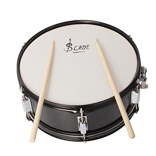 ammoon Profi Snare Drum Head 14Zoll mit verstaerkter Trommel die Taste Akku Schulterriemen für die Band Schüler schwarz