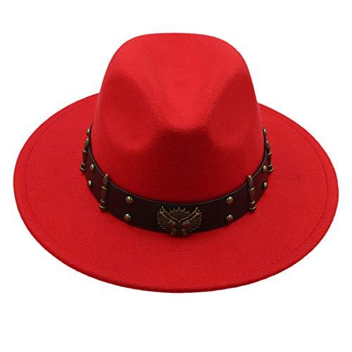 arme Frauen Männer Wolle Fedora Hut Für Winter Herbst Floppy Chapeu Feminino Cloche Breiter Krempe Jazz Sombrero Cap Größe 56-58 cm Creative (Farbe : Rot, Größe : 56-58cm) ()