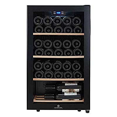 Cavecool wine cooler - Single zone wine fridge with space for up to 34 bottles - Black wine cabinet - Freestanding