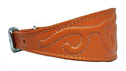 35,6–43,2cm point orange en relief en cuir design collier pour lévrier