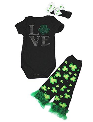 St Kleidung Für Patrick Kleinkinder (St Patrick Day Dress Love Clover Black Jumpsuit Leafs Leg Warmer Set Nb-24m (6-12)