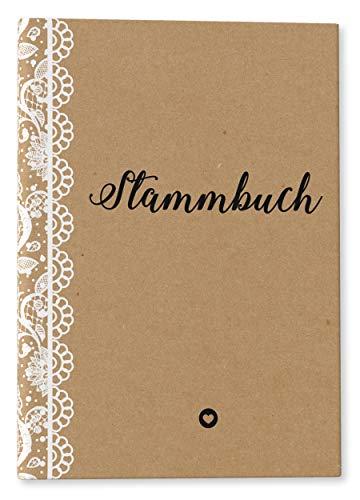 DeinWeddingshop Stammbuch der Familie - modernes Familienstammbuch - Hochzeit Standesamt - Hardcover 16x21cm (Vintage Spitzen)