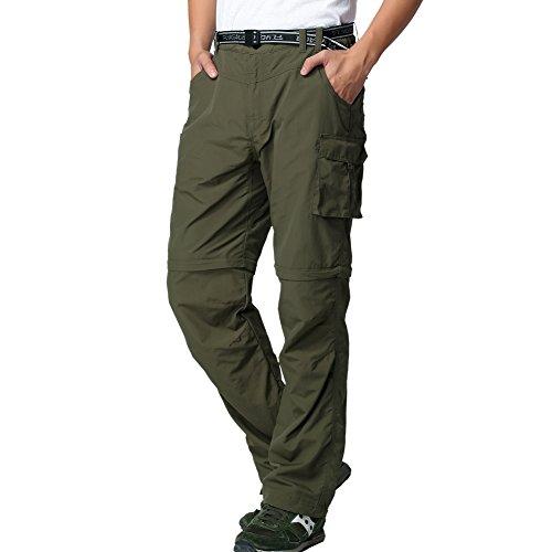 FLYGAGA Herren Outdoorhose Wanderhose Zip Off Hose Shorts Sommer mit Gürtel Leichte Schnelltrocknend Atmungsaktiv FunktionshoseTrekkinghose (Grün, S)
