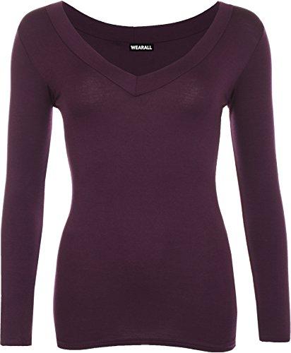 WearAll - Neu Damen V-Ausschnitt Elastisch Langarm Top - 17 Farben - Größe 36-42 Violett