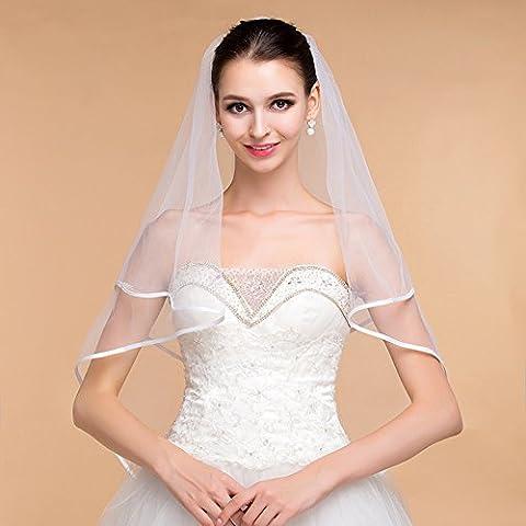Adornos de boda color sólido Individual - Capa de envolver Marfil Hermoso Velo de la Novia