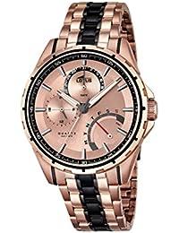 f244e707be18 Diseño de Flor de Loto del Cuarzo de los Hombres con el Reloj de Pulsera de  Oro Rosa y Esfera analógica y de Acero…
