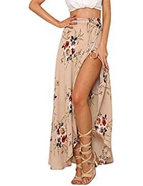 Aivtalk - Falda Estampada floral Asimétrica para Mujer para Playa Primavera Verano Fiesta Noche Cintura Alta