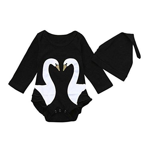 Blau Stricken Hut-set (Baby Bodys Longra 2 stücke Kleinkind Baby Mädchen Jungen Swan Kleidung Set Strampler + Hut Outfits Jumpsuit Unisex Baby Playsuits Kleidungset mit Hüte (100CM 24Monate, Black))
