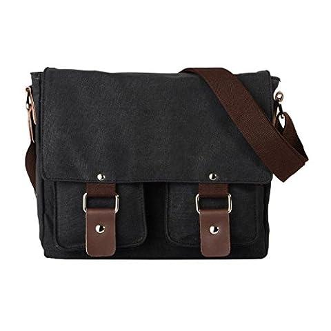 VRIKOO Retro Canvas Messenger Satchel Bag Casual School College Shoulder Bags for Men Women (Black)