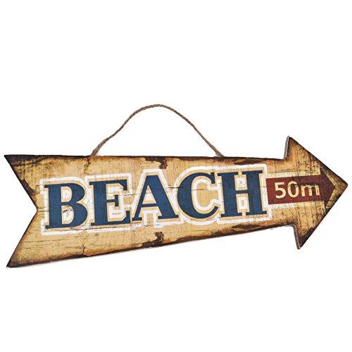 Dadeldo Holzschild Beach 50m Design MDF 10x30cm bunt Vintage Deko (Motiv 4)