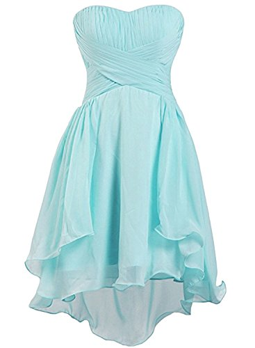 Azbro Women's Strapless High Low Cocktail Bridesmaid Dress Mint Green