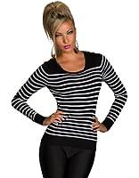 4884 Damen Feinstrick-Pullover mit Streifen Pulli 6 Farben